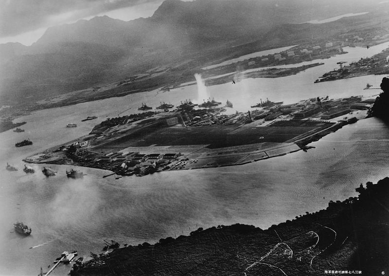 Attack on Pearl Harbor view from Japanese plane