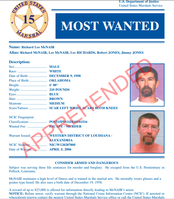 richard lee mcnair wanted poster